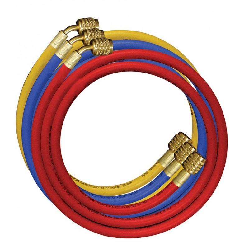 Jeu de 3 flexibles nylon haute pression 1/4